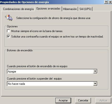 Ahorro de  energía en Windows Vista